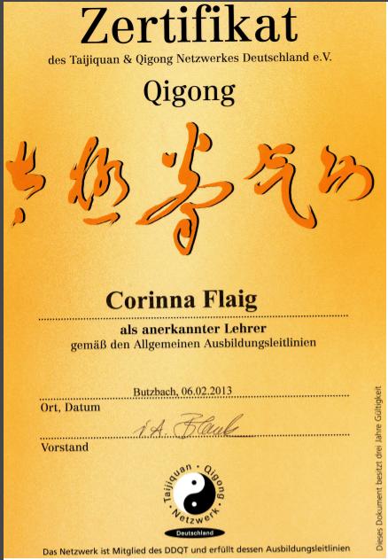 Qi Gong Lehrer Zertifikat 2016